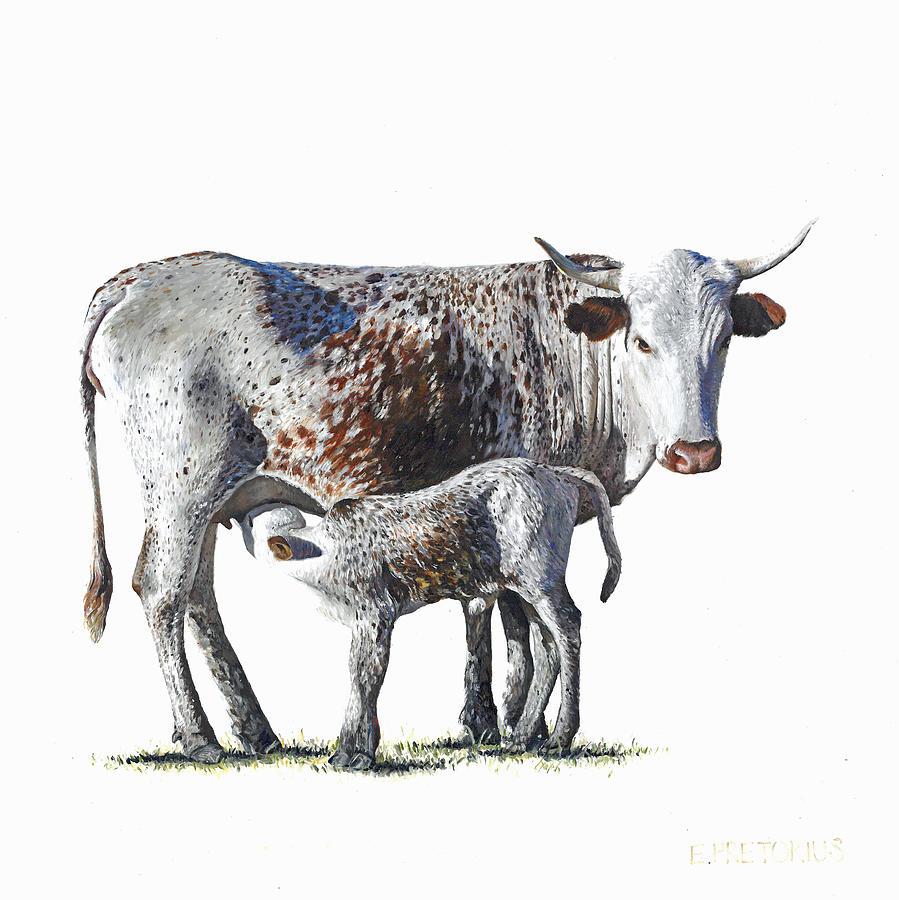 Nguni Painting - Nguni Cow and Calf 1 by Edgar Pretorius