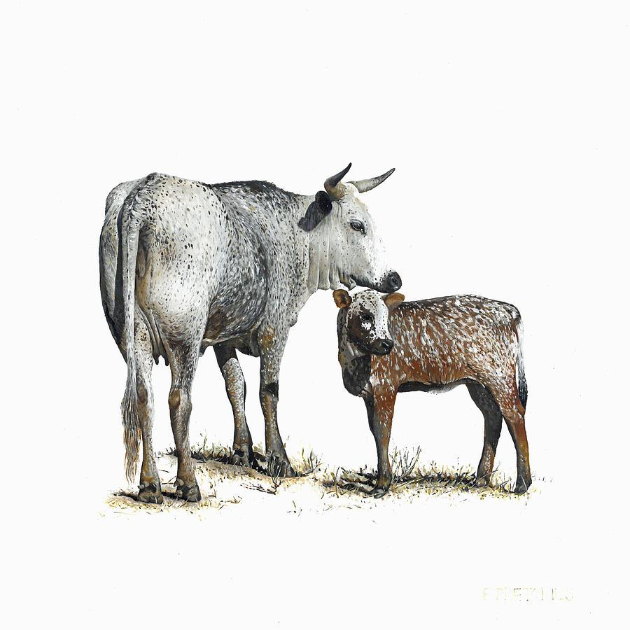 Nguni Painting - Nguni Cow and Calf 2 by Edgar Pretorius