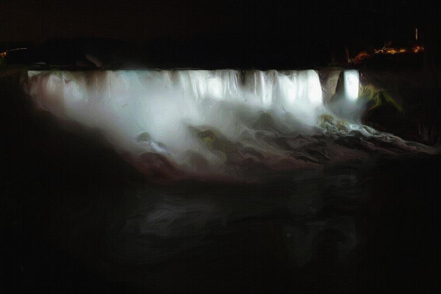 Niagara Falls Painting - Niagara Falls By Night by Inspirowl Design