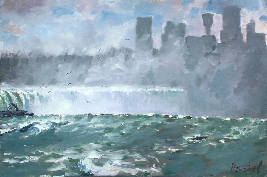 Niagara Painting - Niagara  Falls Mist  by Ylli Haruni