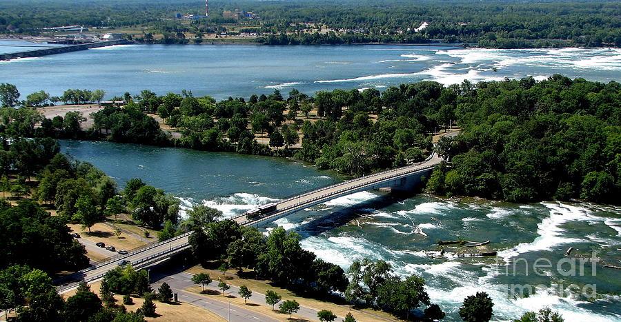 Niagara River And Goat Island Aerial View Photograph