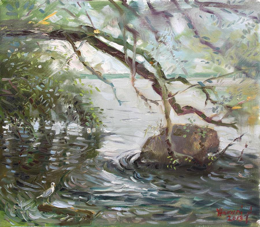Niagara River Painting - Niagara River Side by Ylli Haruni