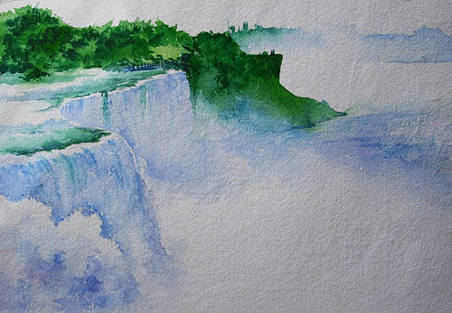 Landscape Painting - Niagara Waterfall by Deepali Sagade