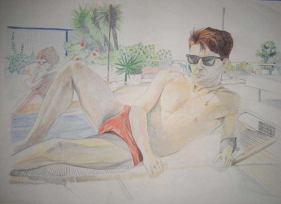 Athens Drawing - Niall In Athens by Michelle Deyna-Hayward