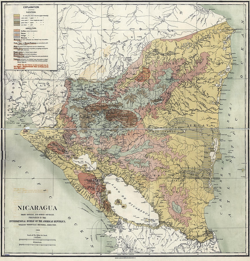 antique map photograph nicaragua agriculture map 1903 by compass rose maps