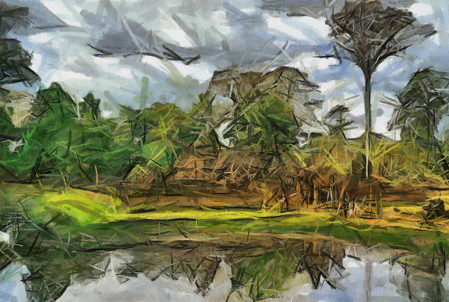Nice Cambodia Temple Painting by Teara Na
