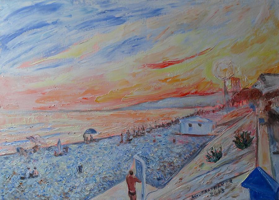 Nice Painting - Nice French Riviera Beach Shower by Agnieszka Praxmayer
