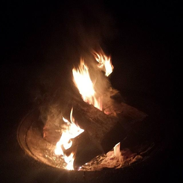 Fire Photograph - Nice Lil Firepit Outback #fire #drinks by Colleen Morrison