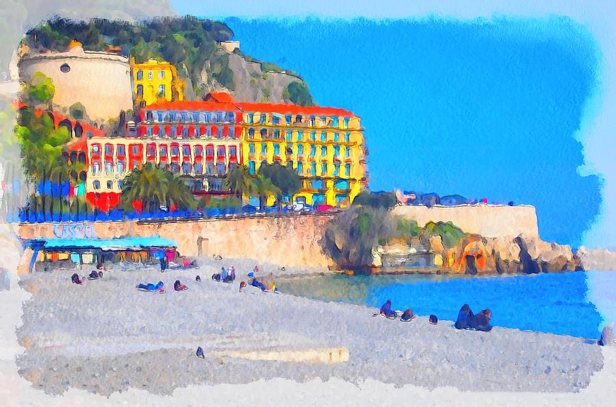 Nice Digital Art - Nice Riviera 1 by Yury Malkov