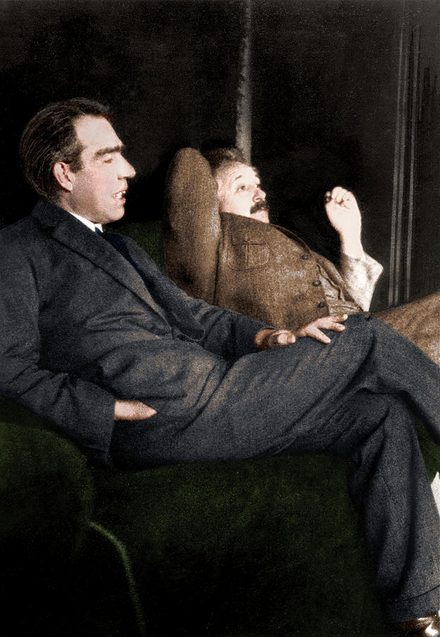 1920s Photograph - Niels Bohr And Albert Einstein by Photograph By Paul Ehrenfest, Copyright Status Unknown. Coloured By Science Photo Library