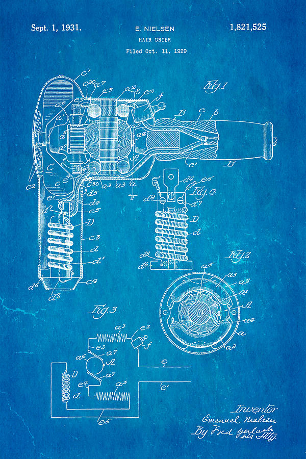 Crafts Photograph - Nielsen Hair Dryer Patent Art 1929 Blueprint by Ian Monk
