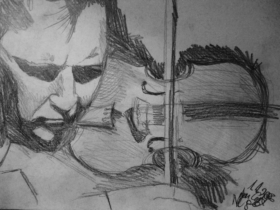 Nigel Kennedy Drawing - Nigel Kennedy by Agata Suchocka-Wachowska