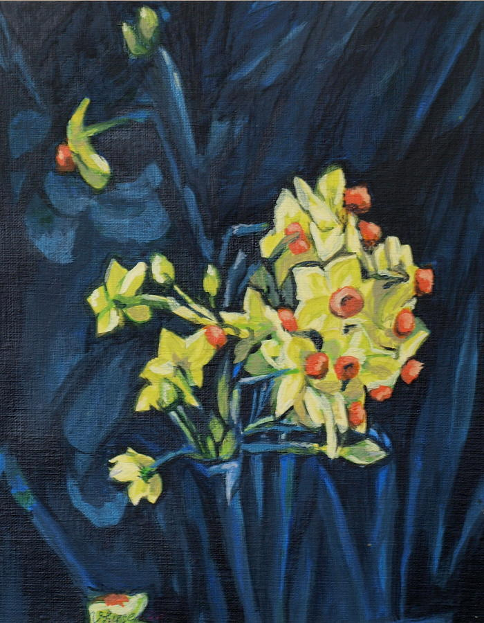 Narcis Painting - Night And Flowers by Vera Lysenko