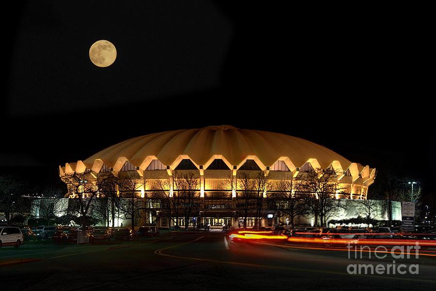 Wvu Photograph - night and moon WVU basketball arena by Dan Friend