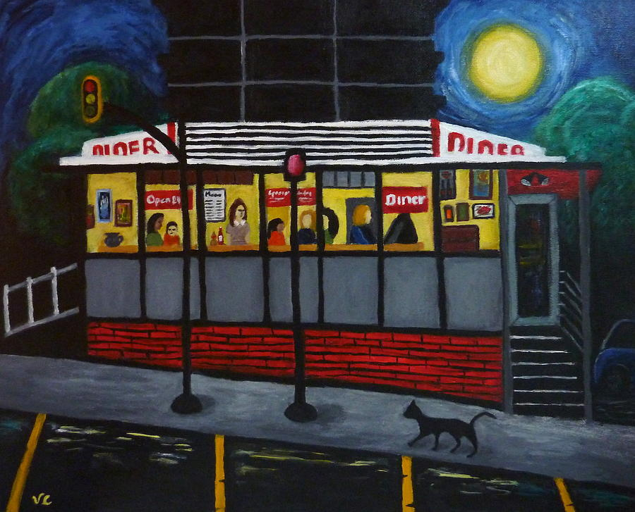Diner Painting - Night At An Arlington Diner by Victoria Lakes