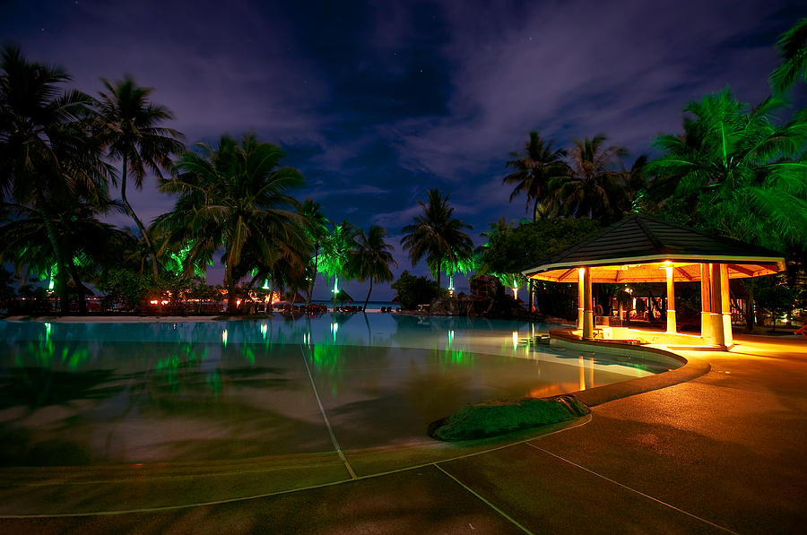 Tropical Photograph - Night At Tropical Resort 1 by Jenny Rainbow