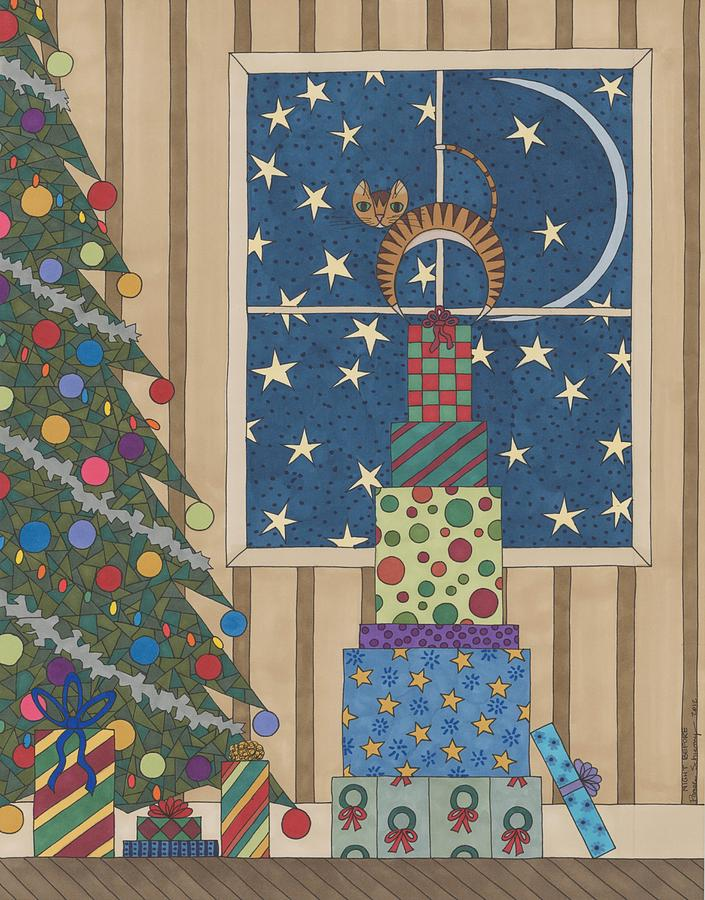 Christmas Drawing - Night Before by Pamela Schiermeyer