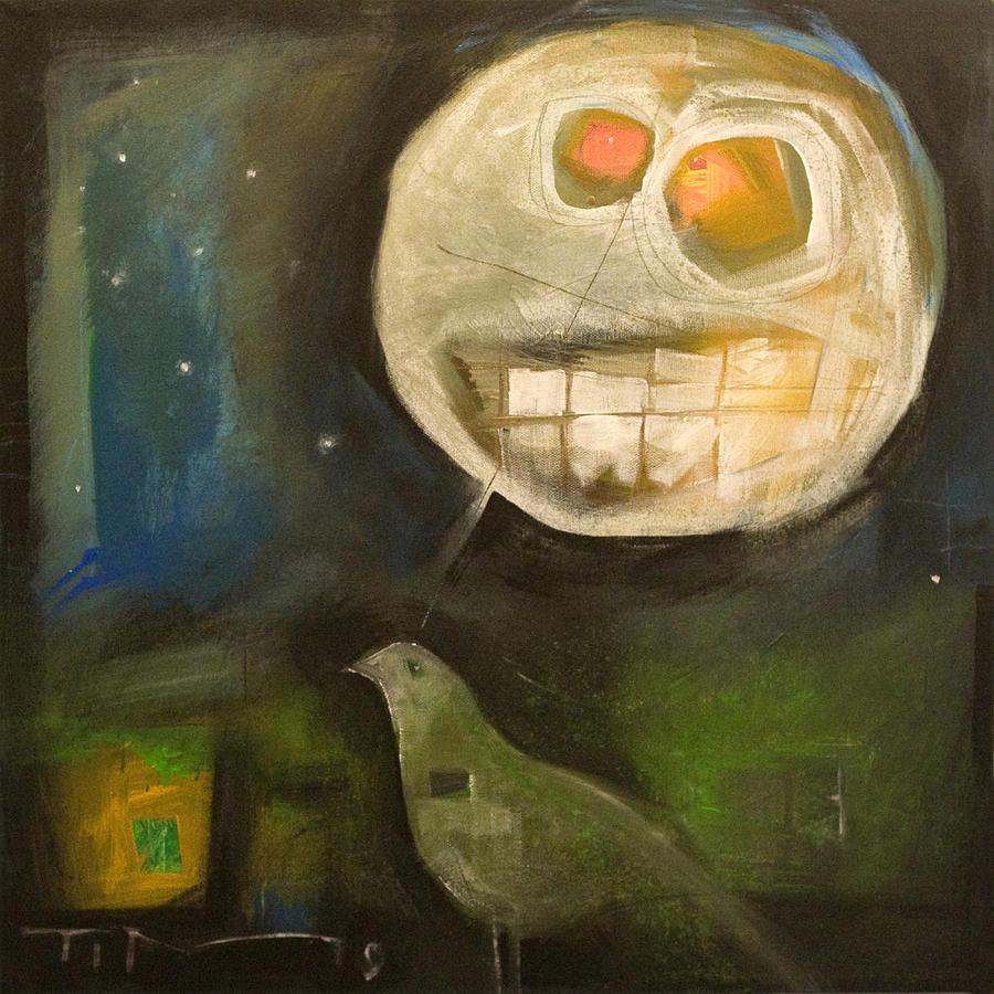 Moon Painting - Night Bird Harvest Moon by Tim Nyberg
