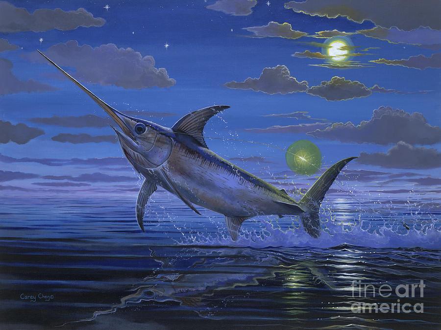 Swordfish Painting - Night Bite Off0066 by Carey Chen