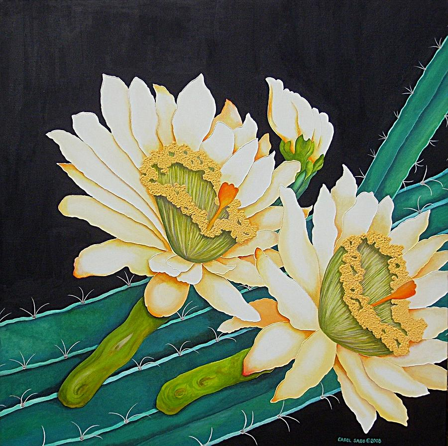 Cacti Painting - Night Blooming Cactus by Carol Sabo