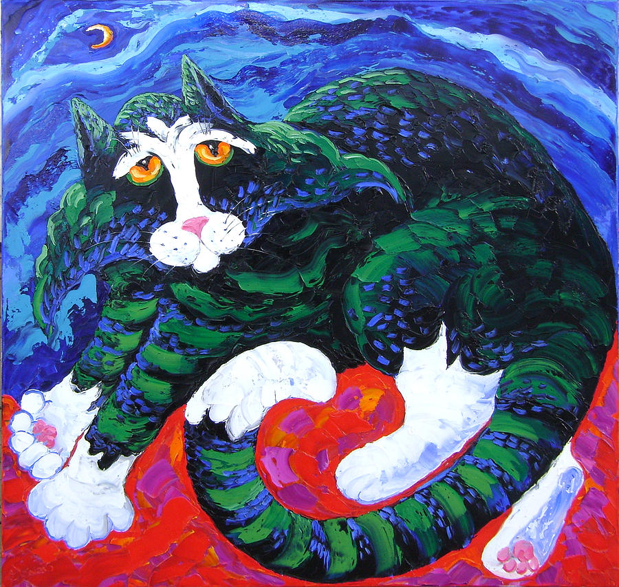 Isabelle Painting - Night Cat by Isabelle Gervais