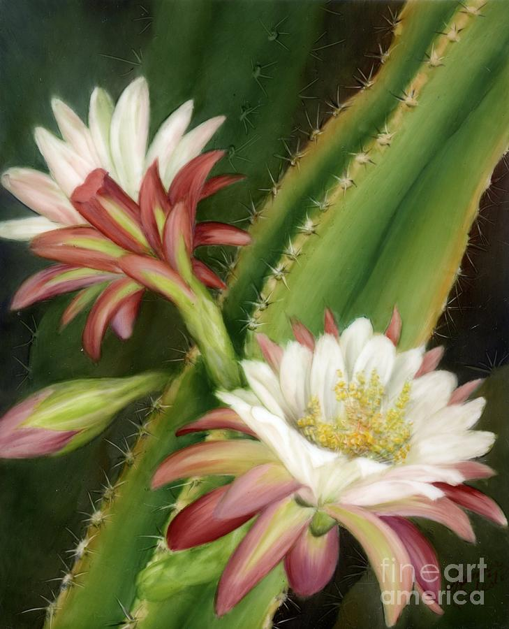 Floral Painting - Night Cereus by Summer Celeste