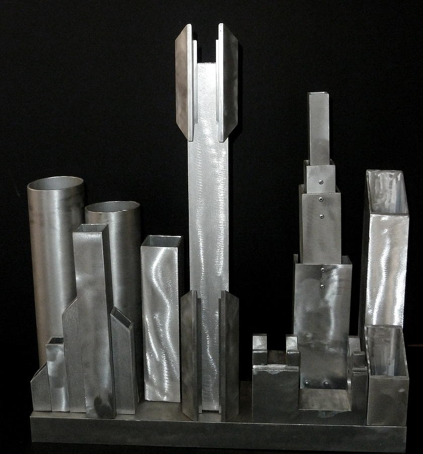 Recycled Metal Sculpture - Night City 2020 by April Davis