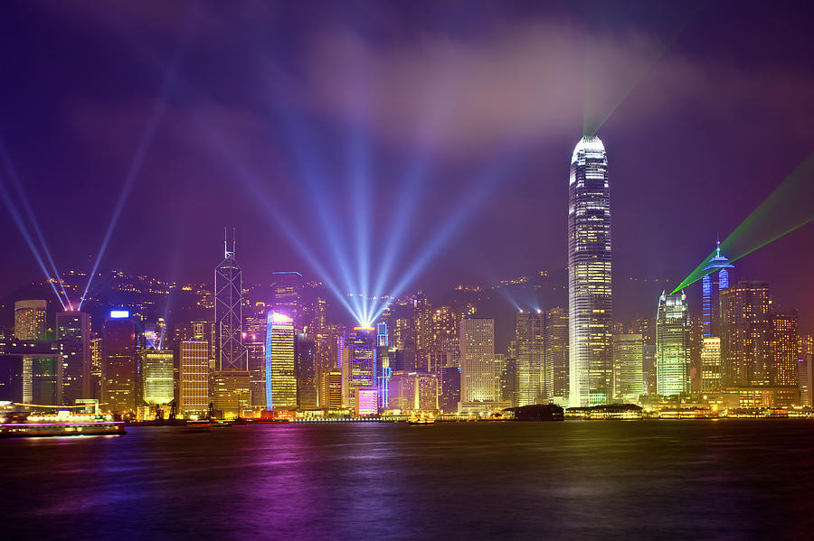 Night Cityscape Of Hongkong Photograph by Ithinksky