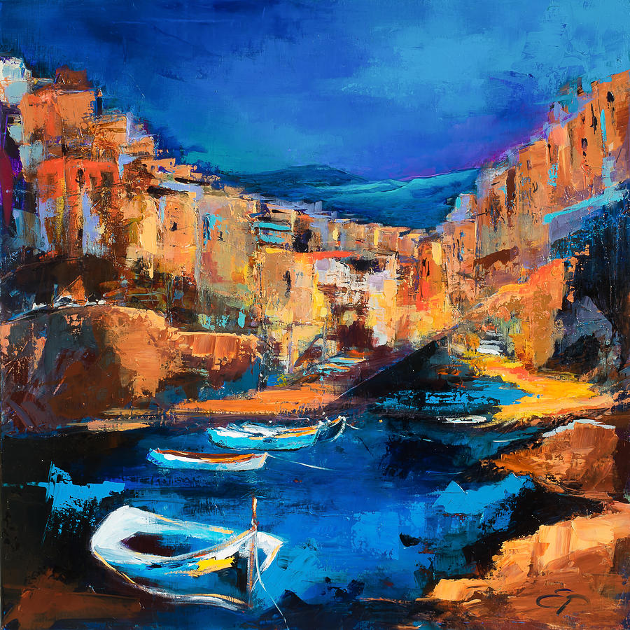 Mediterranean Painting - Night Colors Over Riomaggiore - Cinque Terre by Elise Palmigiani