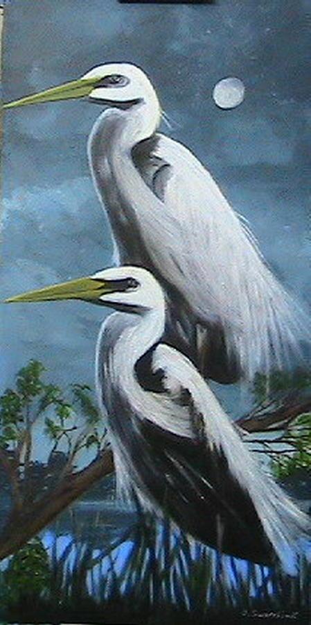 Wildlife Painting - Night Egrets by Catherine Swerediuk