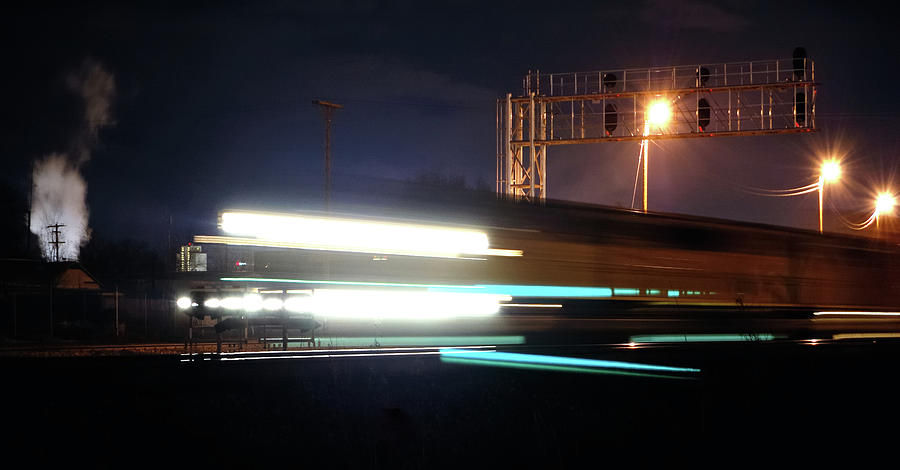 Trains Photograph - Night Express - Union Pacific Engine by Steven Milner