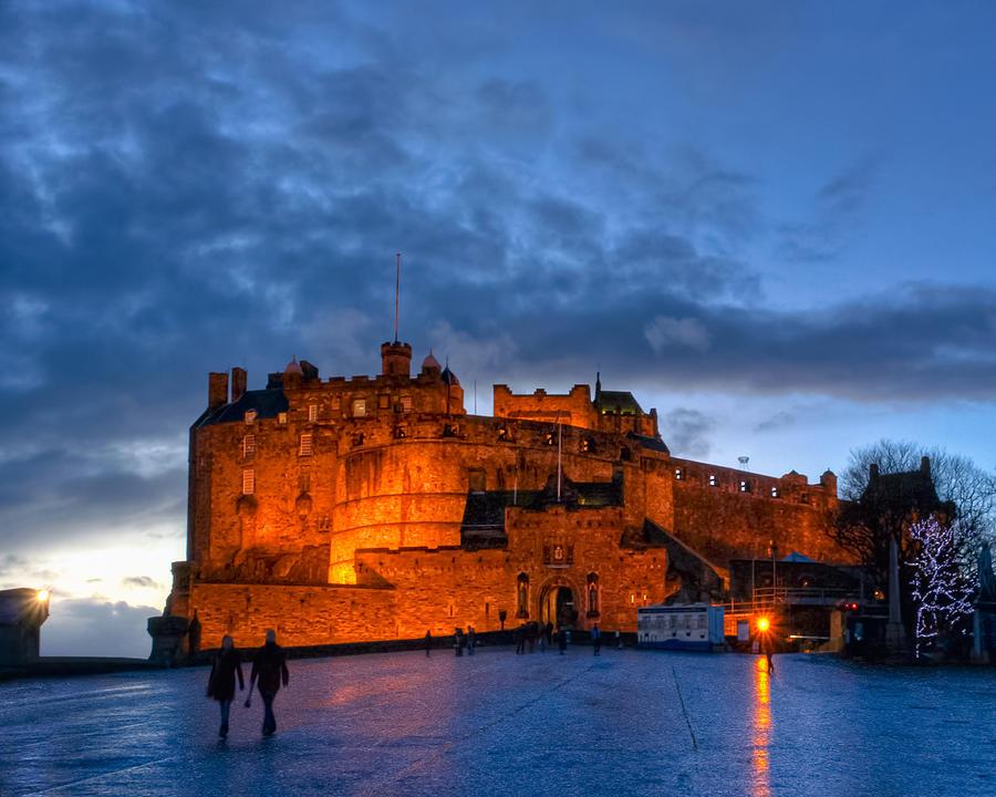 Edinburgh Photograph - Night Falls On Beautiful Edinburgh Castle by Mark E Tisdale