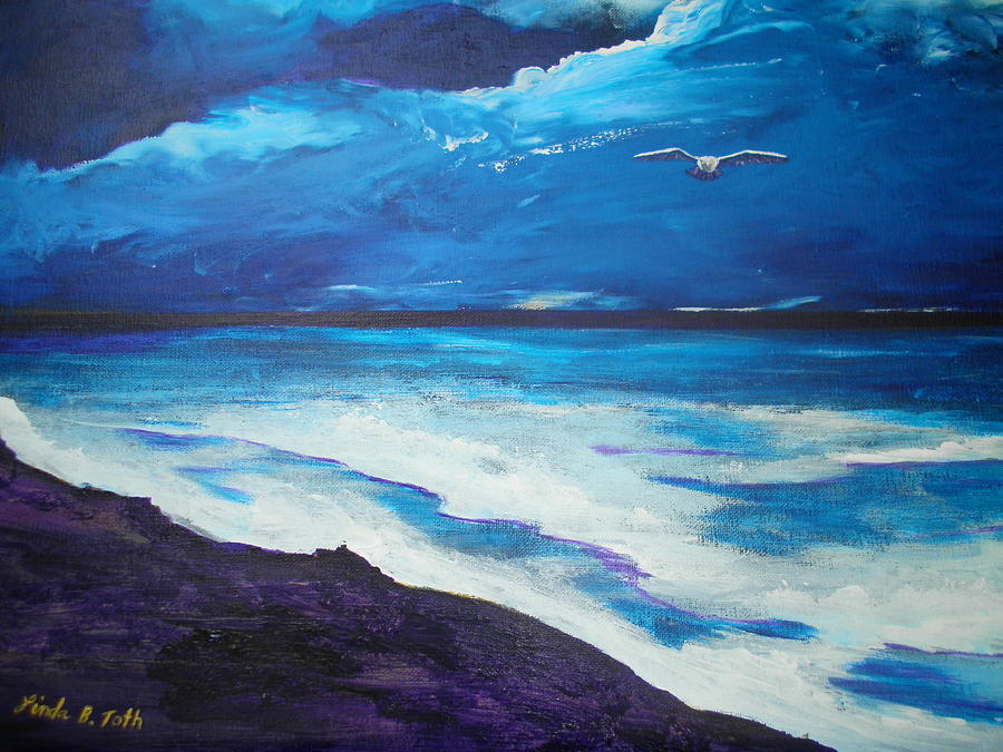 Sea Painting - Night Flight by Linda Bright Toth