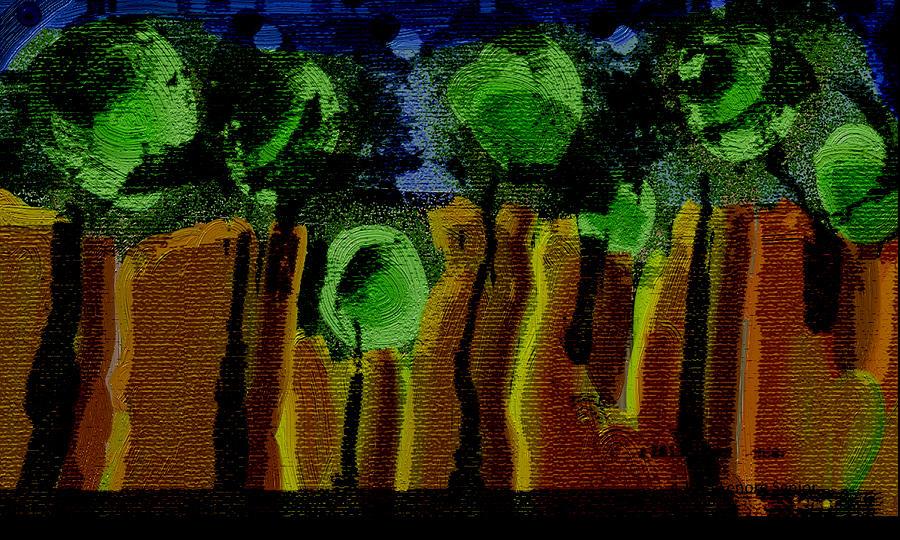 Expressive Digital Art - Night Forest Tapestry by Lenore Senior
