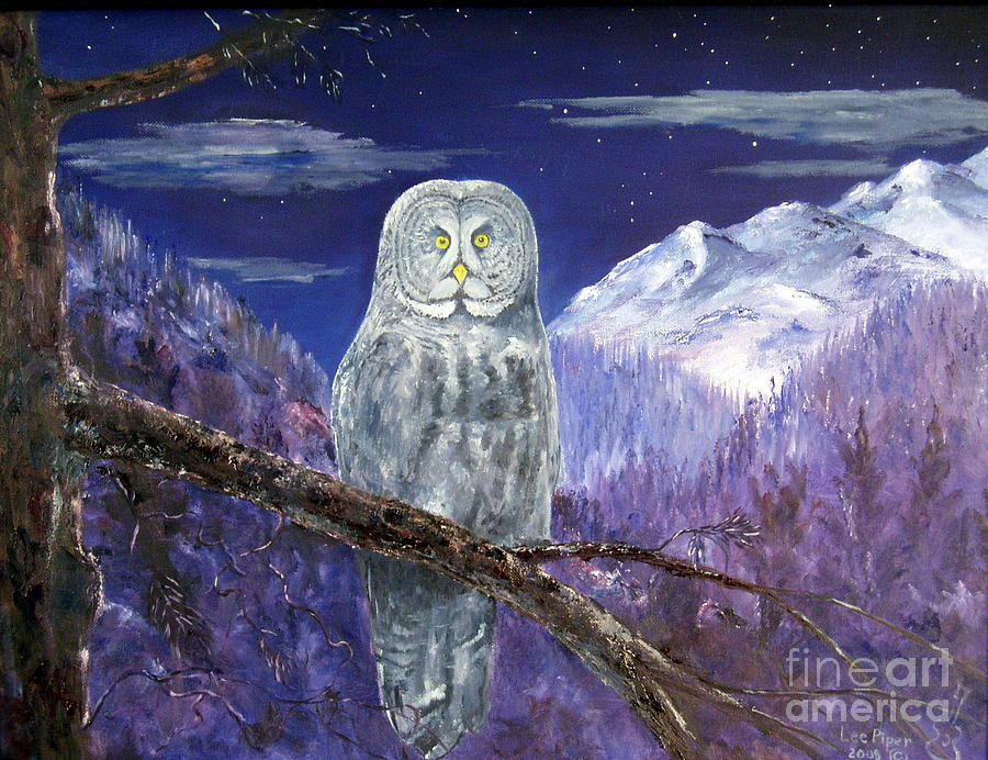 Owl Painting - Night Hunter by Lee Piper