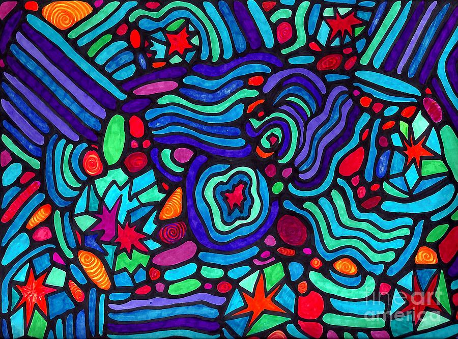 Psychedelic Drawing - Night In 1963 by Sarah Loft