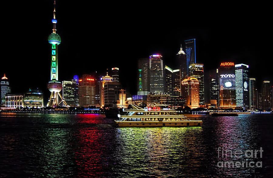 Night Cityscape Photograph - Night In Pudong by Alexandra Jordankova