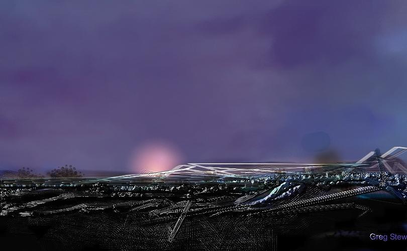 Airport Night Digital Art - Night Landing Approch by Greg Stew