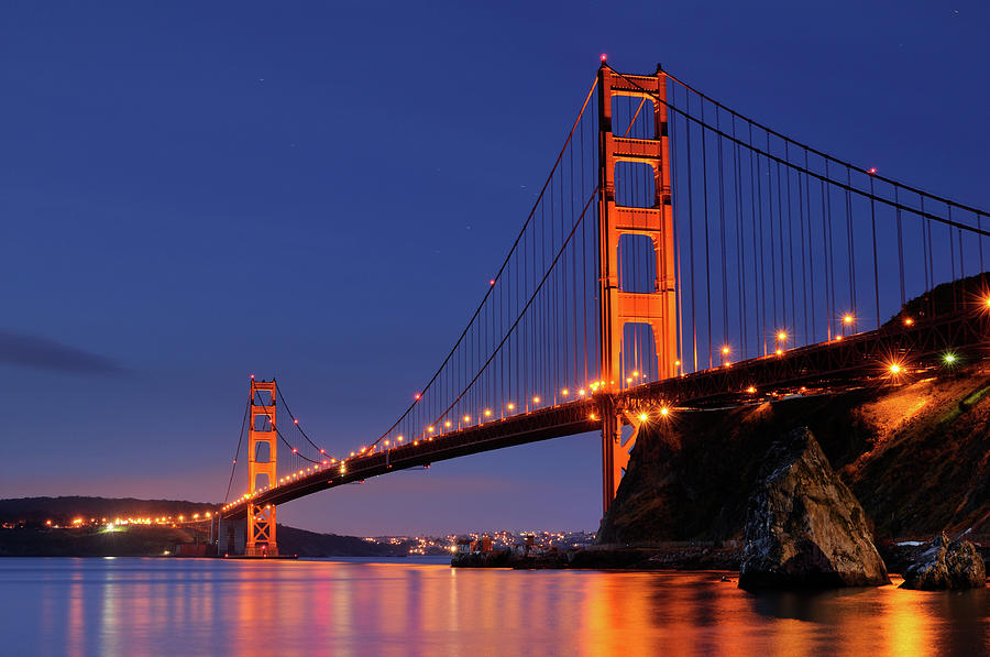 Night Landscape With Golden Gate Photograph by Rezus