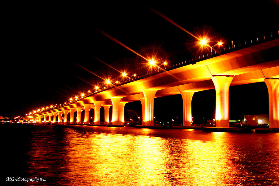 Bridge Photograph - Night Light by Marty Gayler