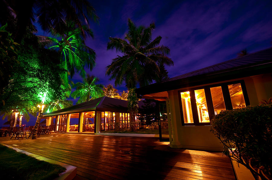 Tropical Photograph - Night Lights At The Resort by Jenny Rainbow