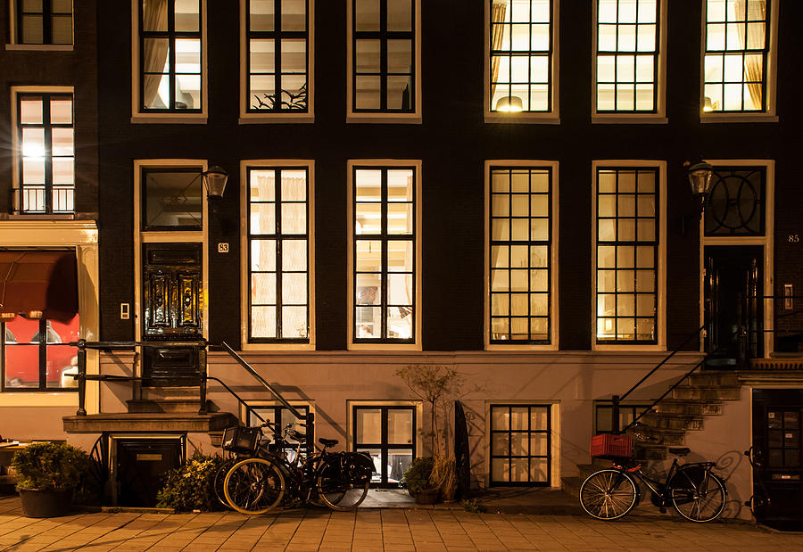 Amsterdam Photograph - Night Lights In Amsterdam. Holland by Jenny Rainbow