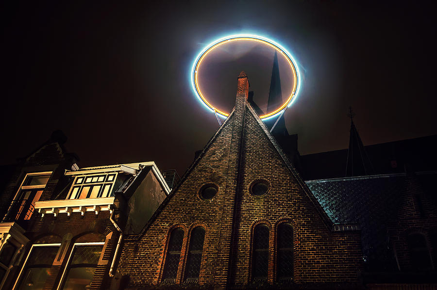 Netherlands Photograph - Night Lights Of Utrecht. Halo At Willibrorduskerk. Netherlands by Jenny Rainbow