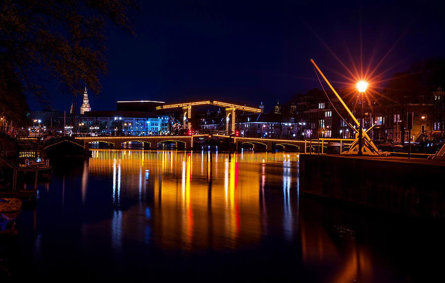 Amsterdam Photograph - Night Lights On The Amsterdam Canals 1. Holland by Jenny Rainbow