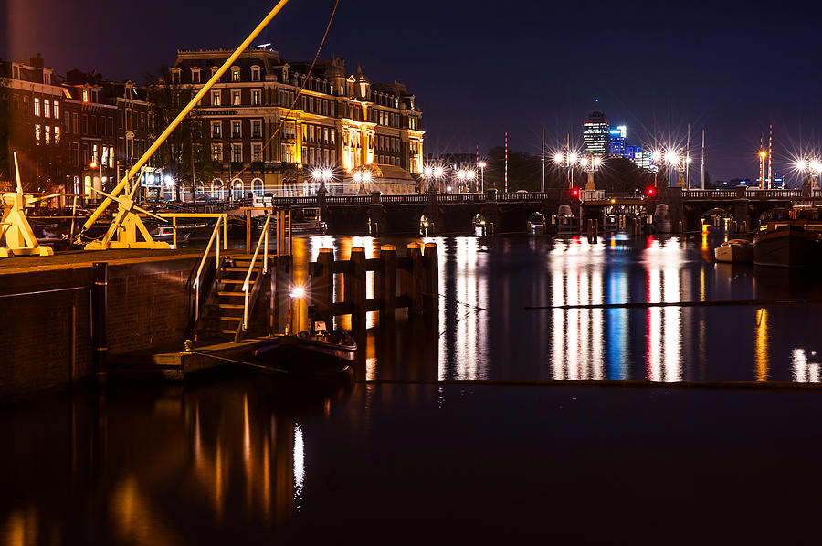 Amsterdam Photograph - Night Lights On The Amsterdam Canals 2. Holland by Jenny Rainbow