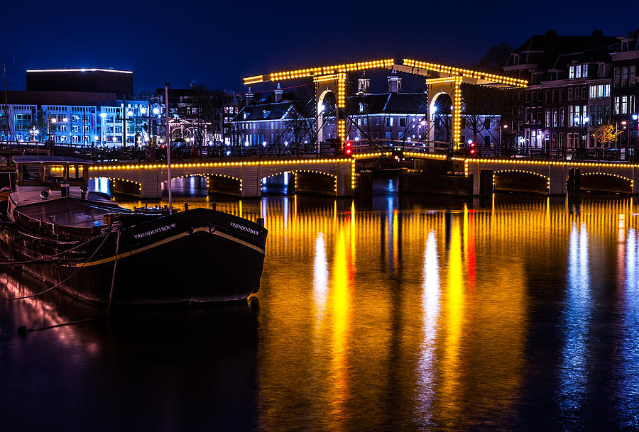 Amsterdam Photograph - Night Lights On The Amsterdam Canals 3. Holland by Jenny Rainbow