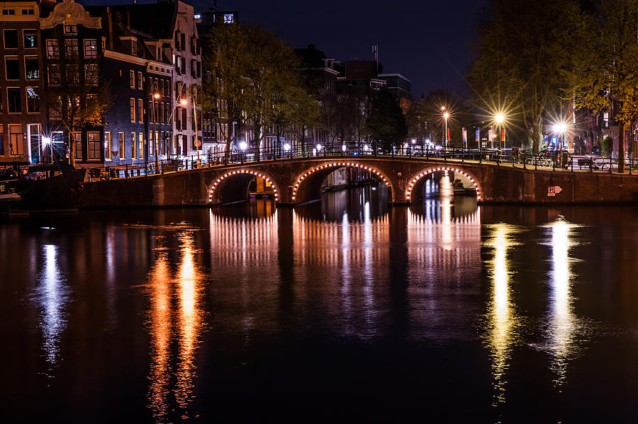 Amsterdam Photograph - Night Lights On The Amsterdam Canals 4. Holland by Jenny Rainbow