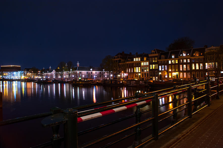 Amsterdam Photograph - Night Lights On The Amsterdam Canals 5. Holland by Jenny Rainbow