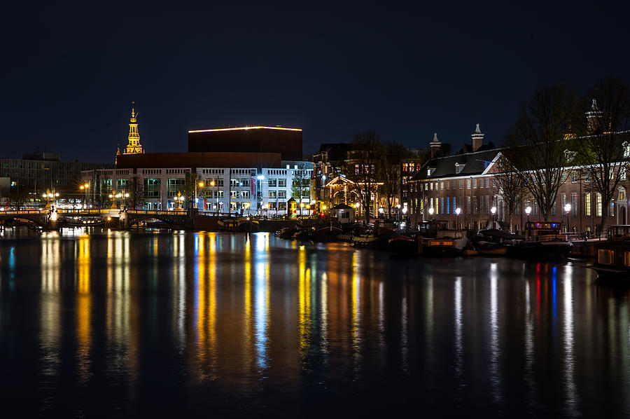 Amsterdam Photograph - Night Lights On The Amsterdam Canals 6. Holland by Jenny Rainbow