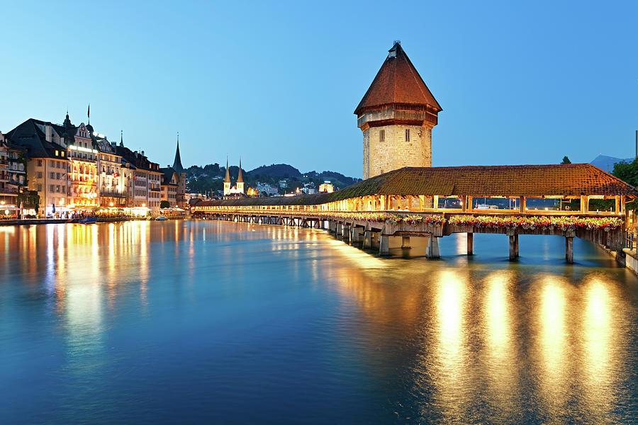 Night Lucerne, Switzerland Photograph by Rusm